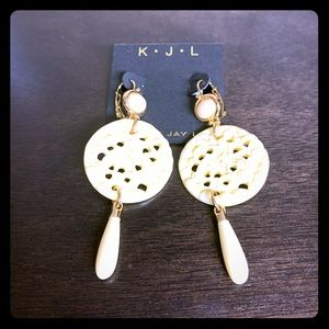 New Goldtone Carved Circle Drop Earrings